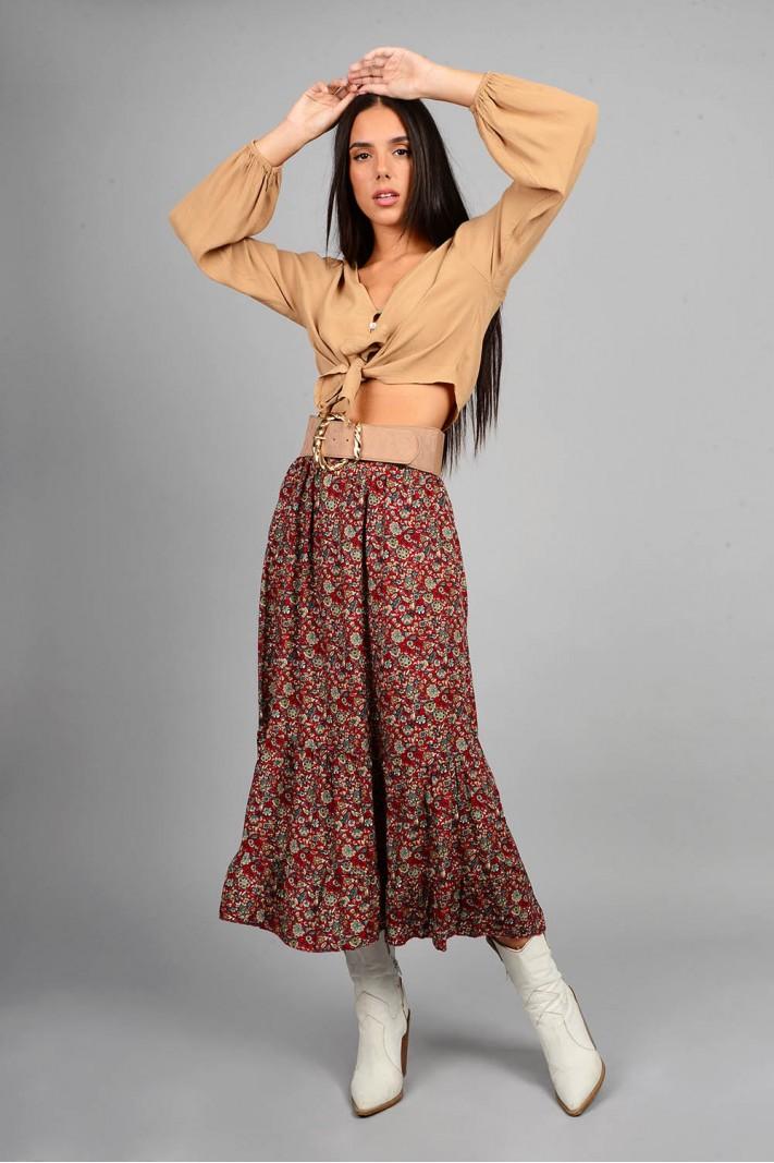 Φούστα μίντι φλοράλ με λάστιχο κόκκινη