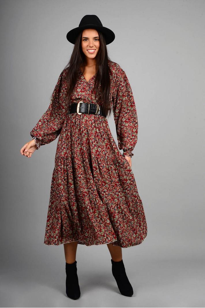 Φόρεμα μίντι φλοράλ με κρουαζέ στήθος κόκκινο