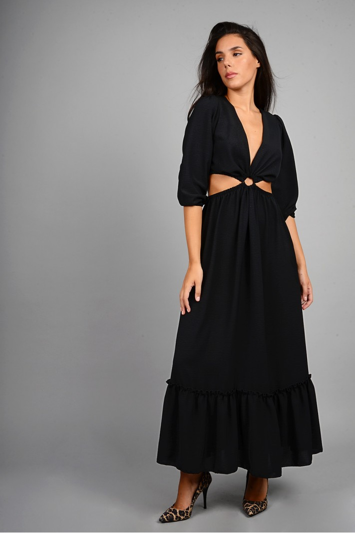 Φόρεμα μακρύ με άνοιγμα μαύρο Limited Edition