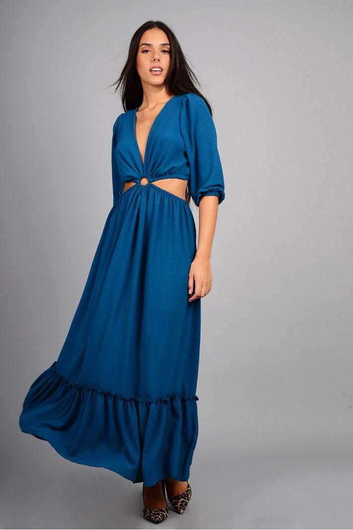 Φόρεμα μακρύ με άνοιγμα πετρόλ Limited Edition