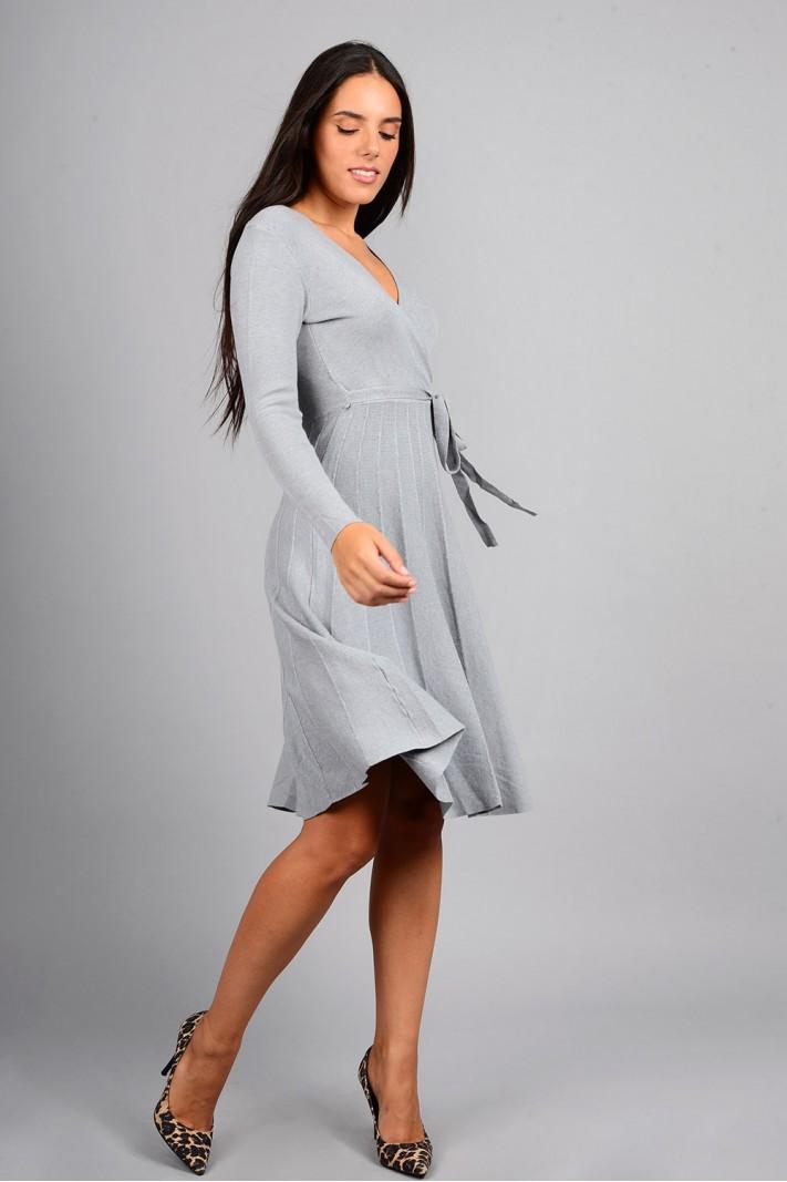 Φόρεμα μίντι πλεκτό σε άλφα γραμμή γκρι
