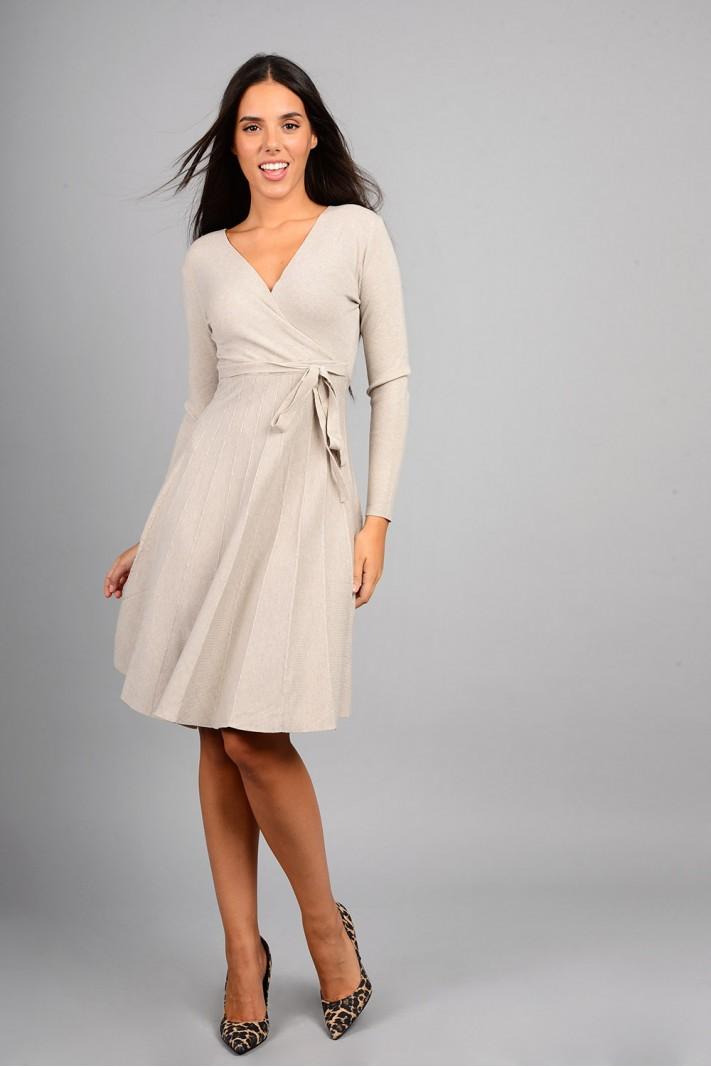Φόρεμα μίντι πλεκτό σε άλφα γραμμή μπεζ