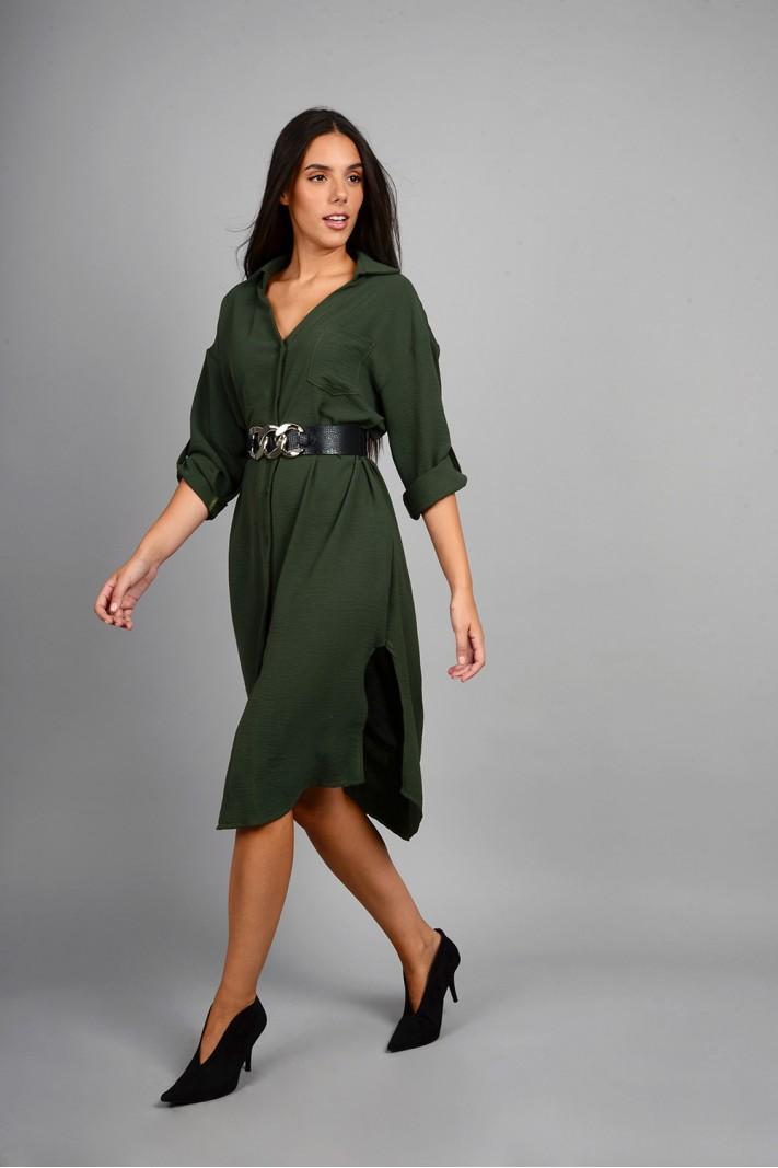 Oversized πουκαμίσα/φόρεμα με κουμπιά λαδί