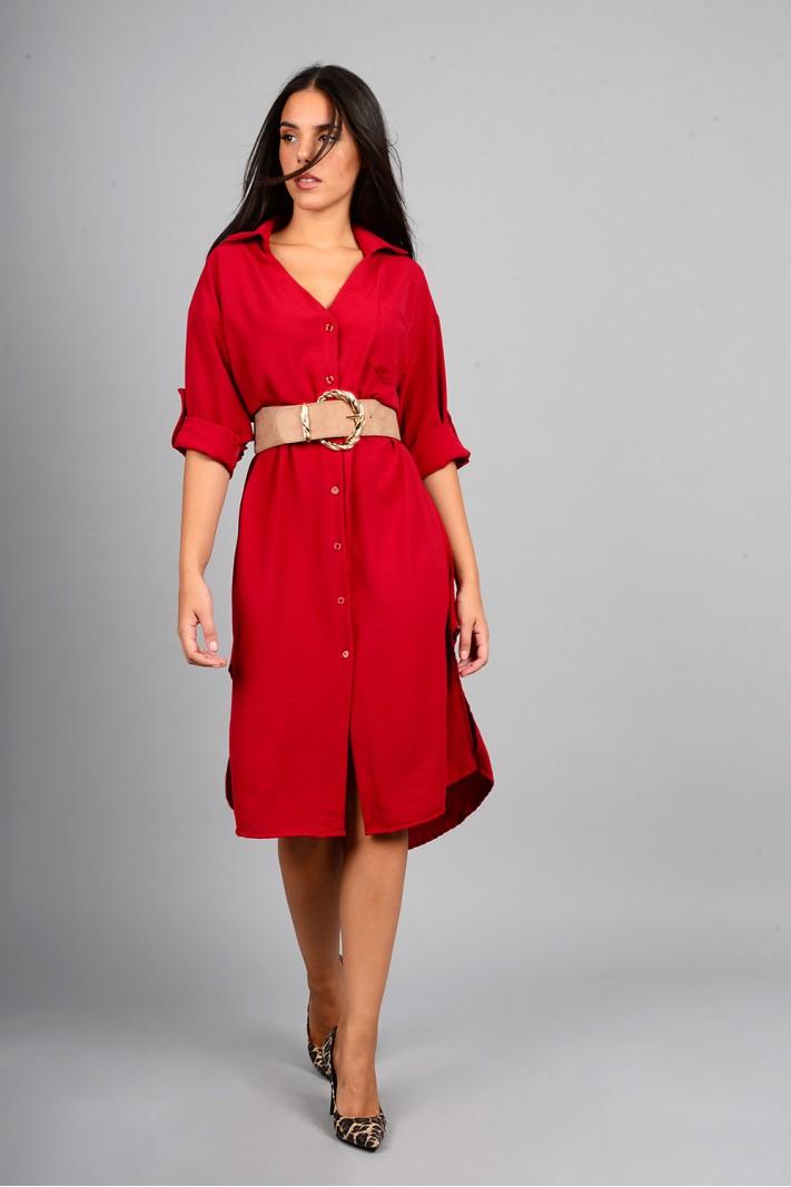 Oversized πουκαμίσα/φόρεμα με κουμπιά κόκκινο βουργουνδίας