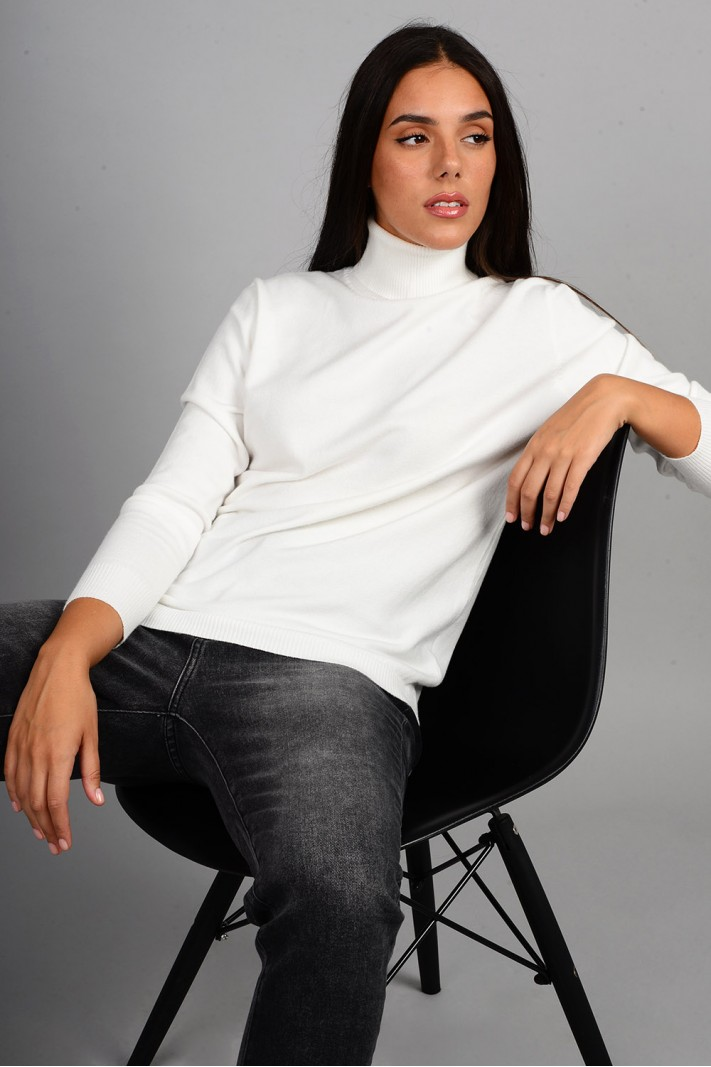 Oversized μπλούζα πλεκτή basic ζιβάγκο εκρού
