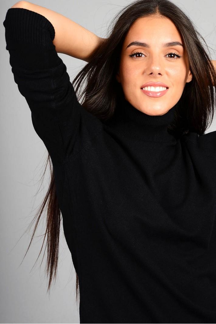Oversized μπλούζα πλεκτή basic ζιβάγκο μαύρο