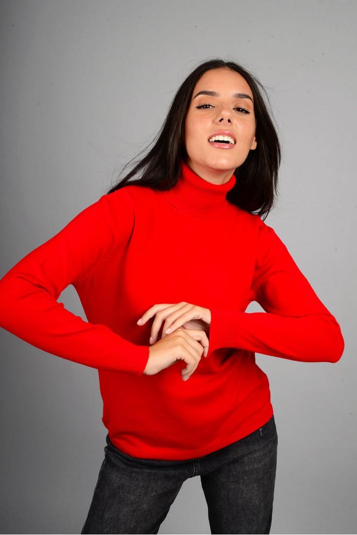 Oversized μπλούζα πλεκτή basic ζιβάγκο κόκκινη