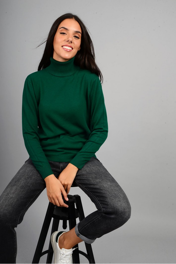 Oversized μπλούζα πλεκτή basic ζιβάγκο πράσινο σκούρο