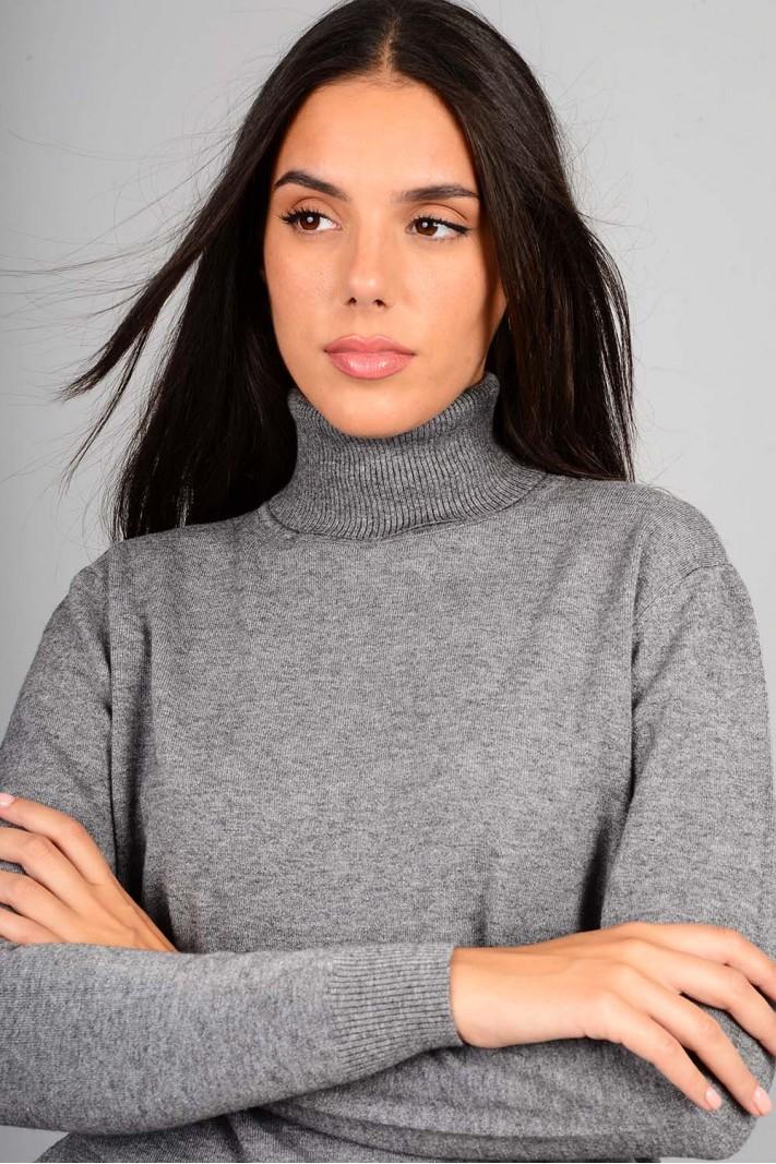 Oversized μπλούζα πλεκτή basic ζιβάγκο γκρι