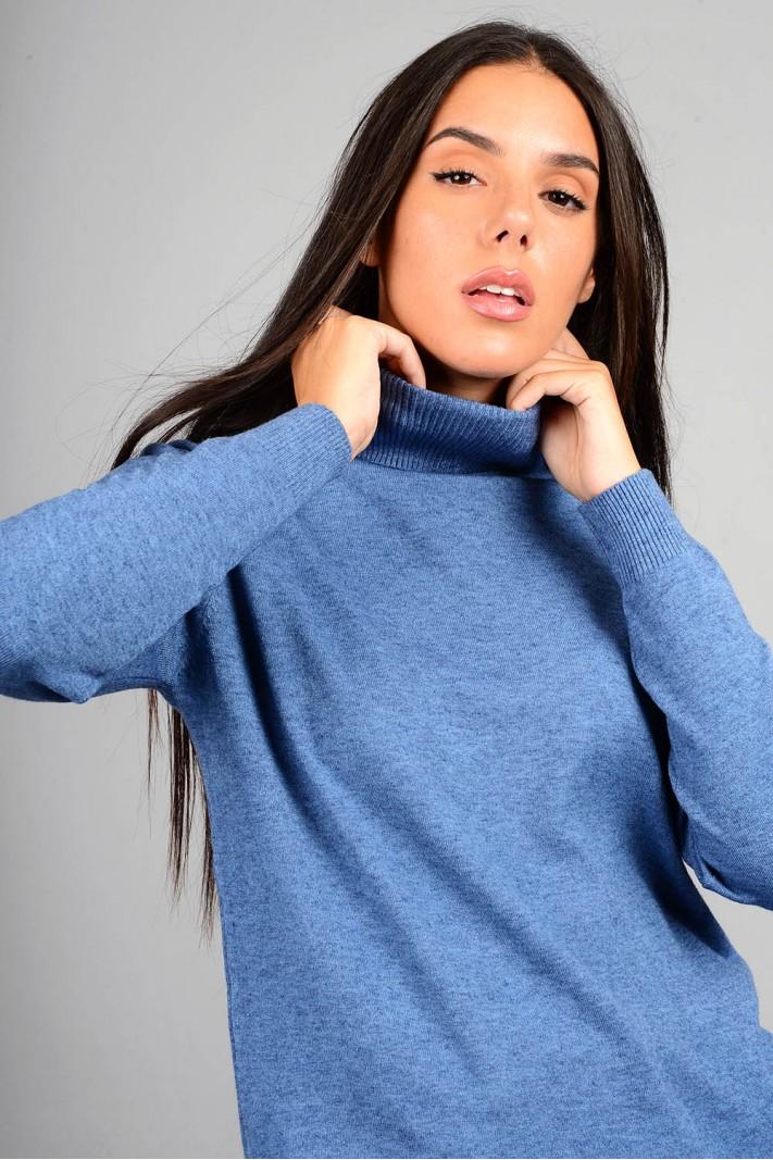 Oversized μπλούζα πλεκτή basic ζιβάγκο μπλε