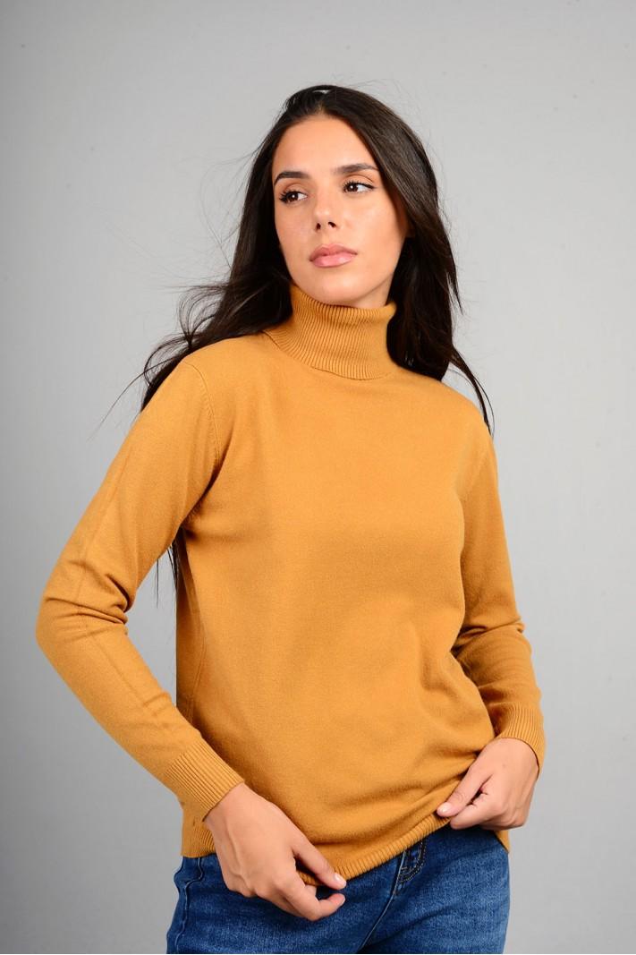 Oversized μπλούζα πλεκτή basic ζιβάγκο ώχρα