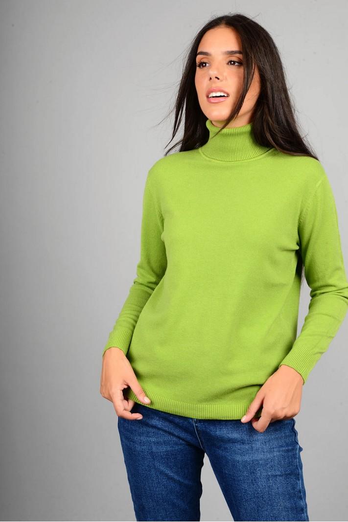 Oversized μπλούζα πλεκτή basic ζιβάγκο πράσινο ανοιχτό