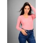 Μπλούζα basic rib με διακοσμητικά κουμπιά ροζ
