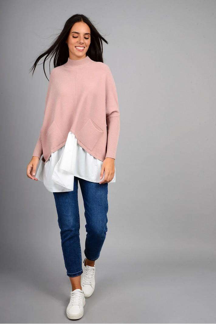 Oversized πλεκτό με τελείωμα πουκαμίσου και τσέπες ροζ