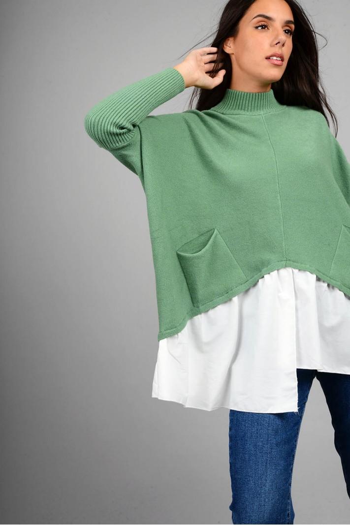 Oversized πλεκτό με τελείωμα πουκαμίσου και τσέπες πράσινο