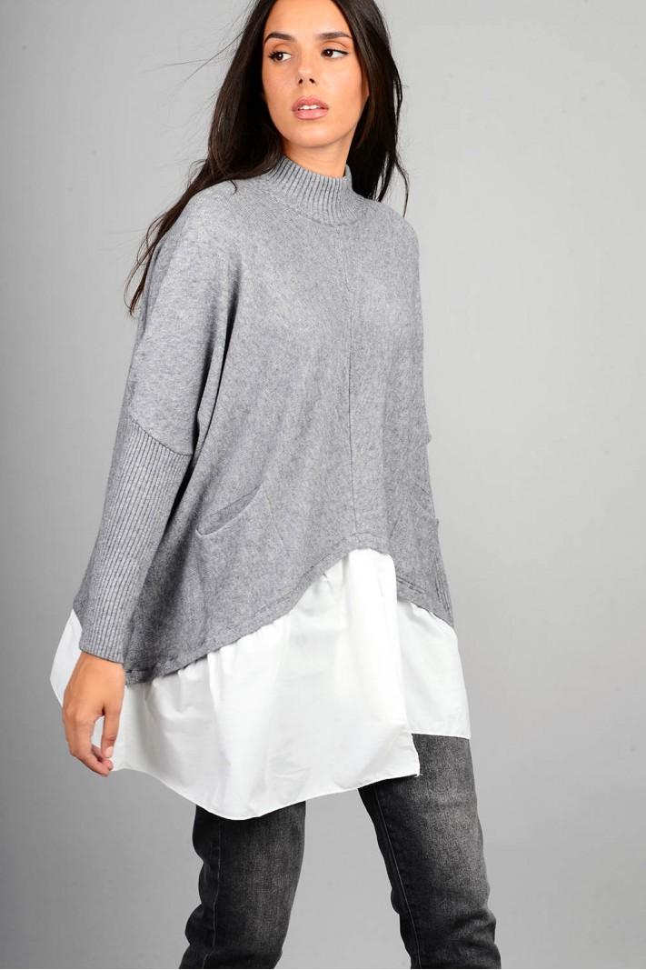 Oversized πλεκτό με τελείωμα πουκαμίσου και τσέπες γκρι