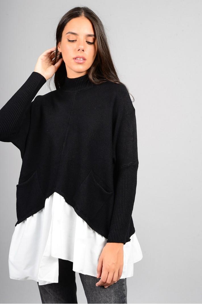 Oversized πλεκτό με τελείωμα πουκαμίσου και τσέπες μαύρο