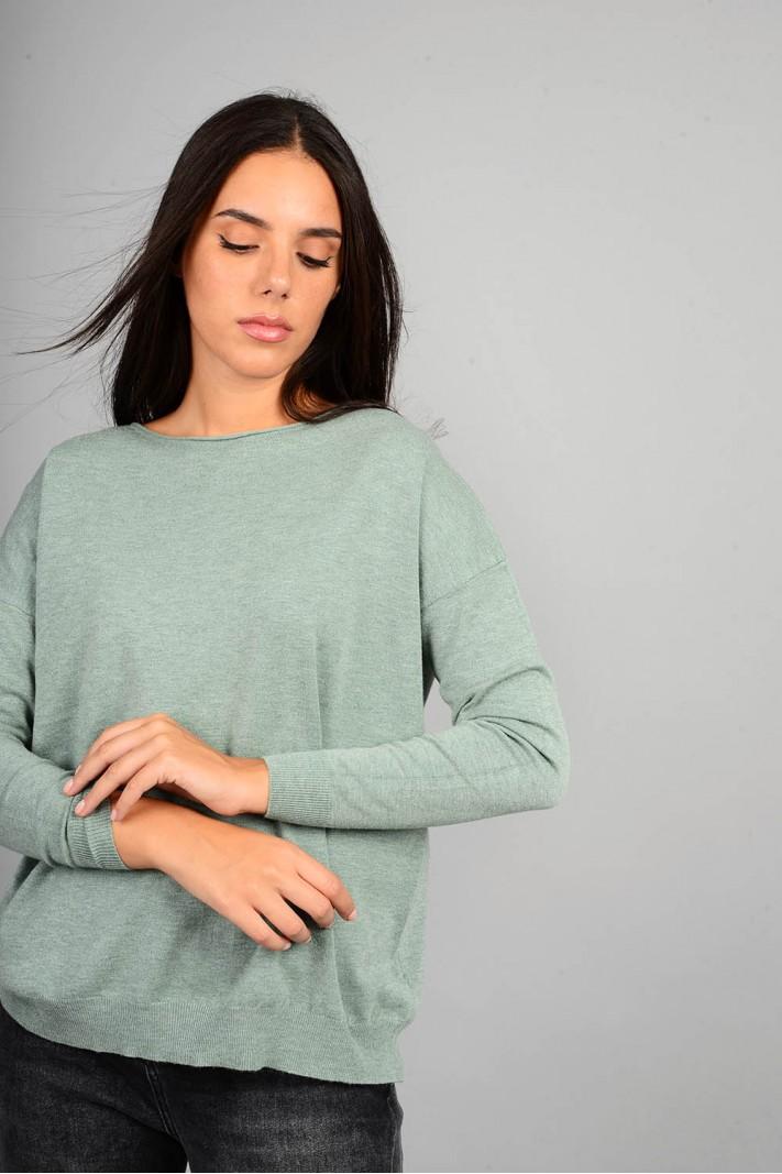Μπλούζα πλεκτή με λαιμόκοψη μέντα