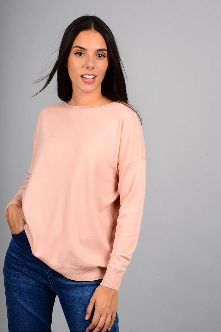 Μπλούζα πλεκτή με λαιμόκοψη ροζ