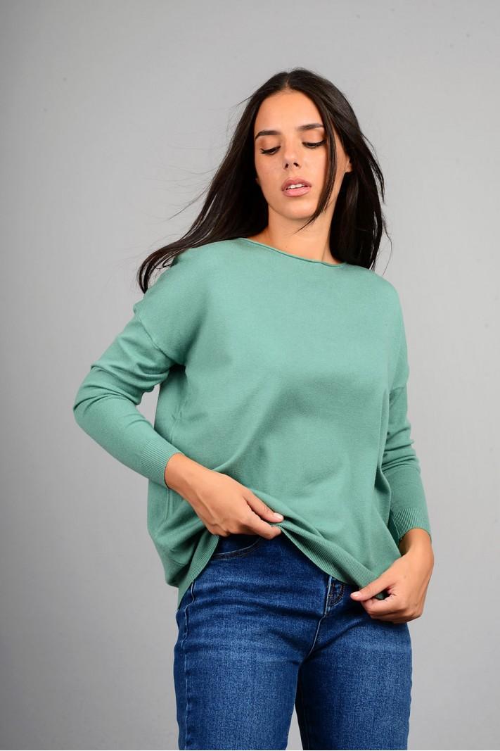 Μπλούζα πλεκτή με λαιμόκοψη πράσινο