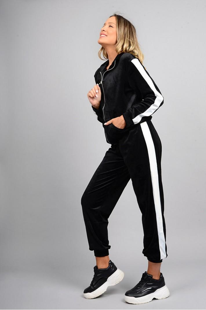 Σετ φόρμα βελουτέ ζακέτα και παντελόνι με ρίγα μαύρη