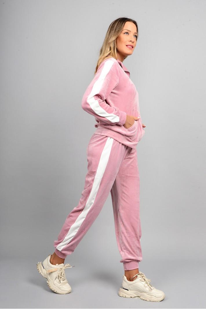 Σετ φόρμα βελουτέ ζακέτα και παντελόνι με ρίγα ροζ