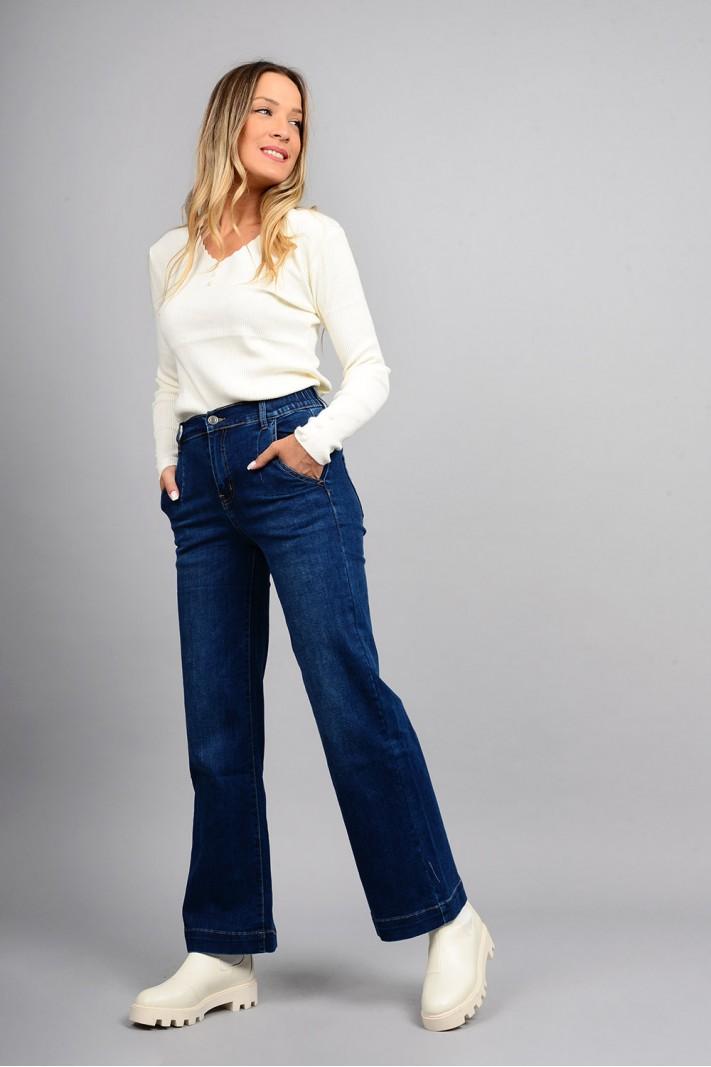 Παντελόνι τζιν wide leg ψηλόμεσο με λάστιχο μπλε