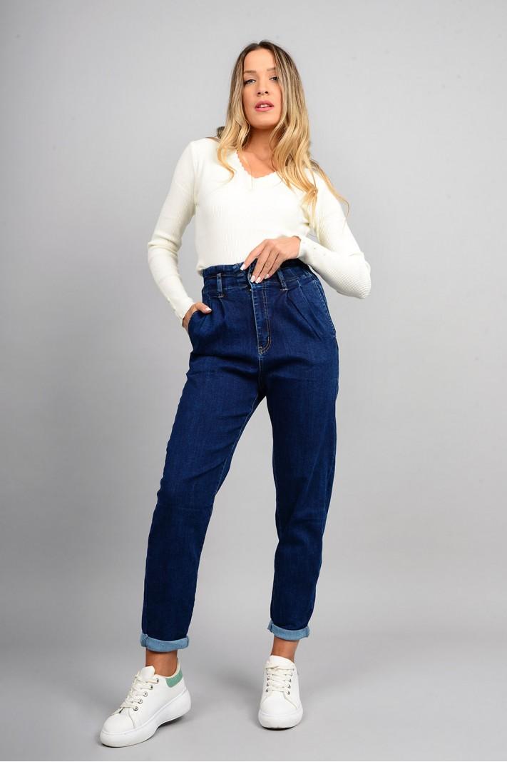 Παντελόνι τζιν slouchy ψηλόμεσο μπλε με λάστιχο