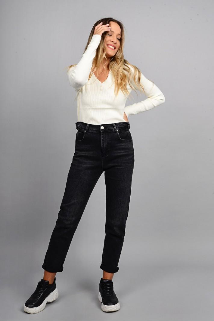 Παντελόνι τζιν mum fit ψηλόμεσο με λάστιχο μαύρο