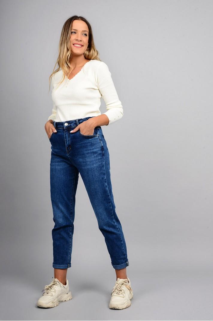 Παντελόνι τζιν mum fit ψηλόμεσο με λάστιχο μπλε