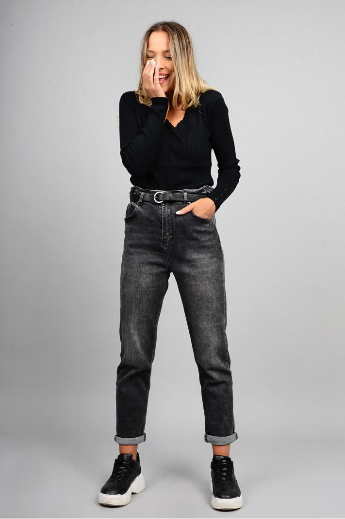 Παντελόνι τζιν mum fit ψηλόμεσο με λάστιχο γκρι σκούρο