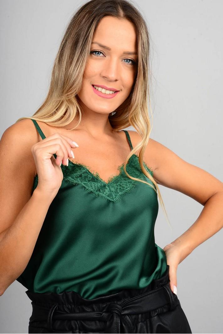 Τοπ basic lingerie με δαντέλα πράσινο σκούρο