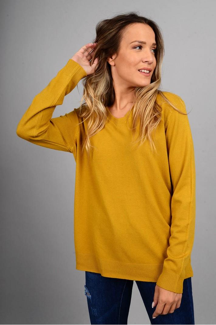 Oversized μπλούζα πλεκτή basic με v λαιμό ώχρα