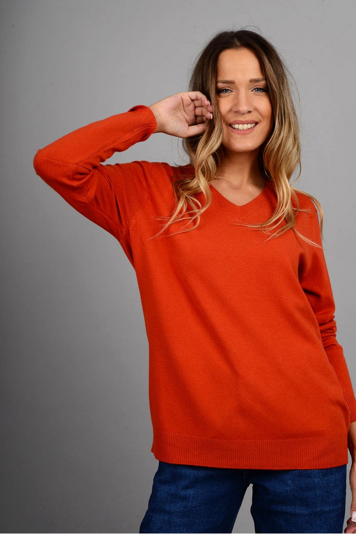 Oversized μπλούζα πλεκτή basic με v λαιμό εκάϊ