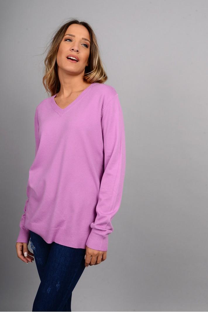 Oversized μπλούζα πλεκτή basic με v λαιμό λίλα