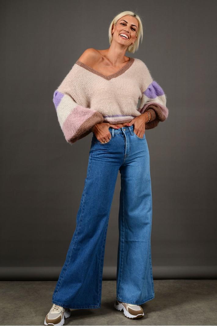 Παντελόνι τζιν wide leg ψηλόμεσο με διχρωμία Limited Edition