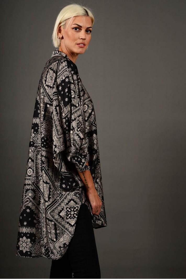 Oversized πουκαμίσα εμπριμέ ασύμμετρη μαύρη Limited Edition
