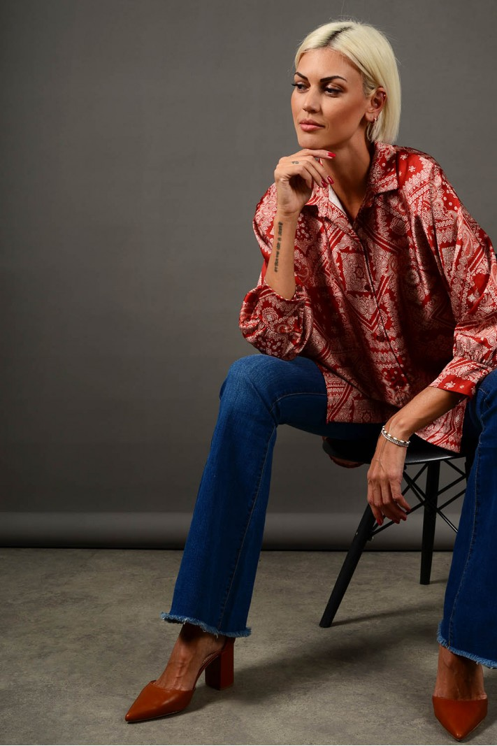 Oversized πουκαμίσα εμπριμέ ασύμμετρη εκάϊ Limited Edition