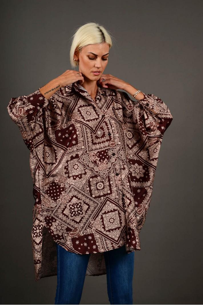 Oversized πουκαμίσα εμπριμέ ασύμμετρη καφέ Limited Edition