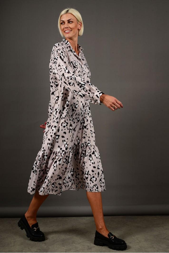 Φόρεμα μίντι animal print με βολάν μπεζ Limited Edition