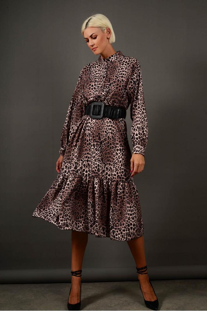 Φόρεμα μίντι animal print με βολάν καφέ Limited Edition