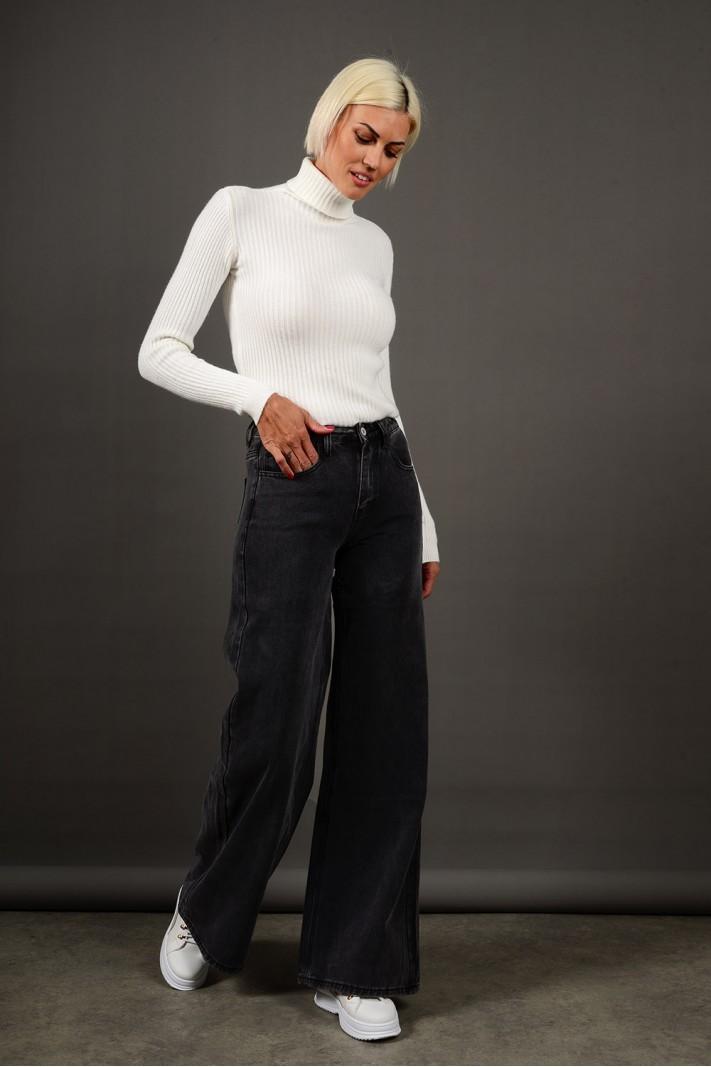 Παντελόνι τζιν wide leg ψηλόμεσο μαύρο Limited Edition