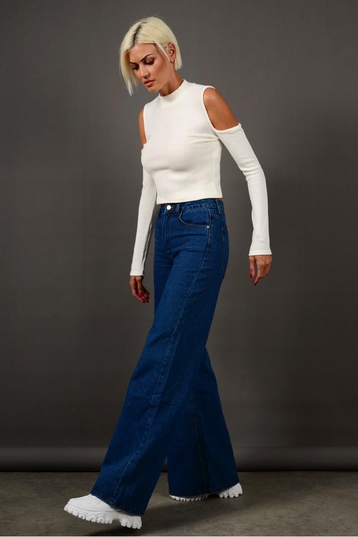 Παντελόνι τζιν wide leg ψηλόμεσο μπλε Limited Edition