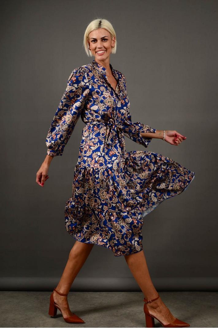 Σεμιζιέ/Φόρεμα μίντι εμπριμέ με ζώνη μπλε Limited Edition