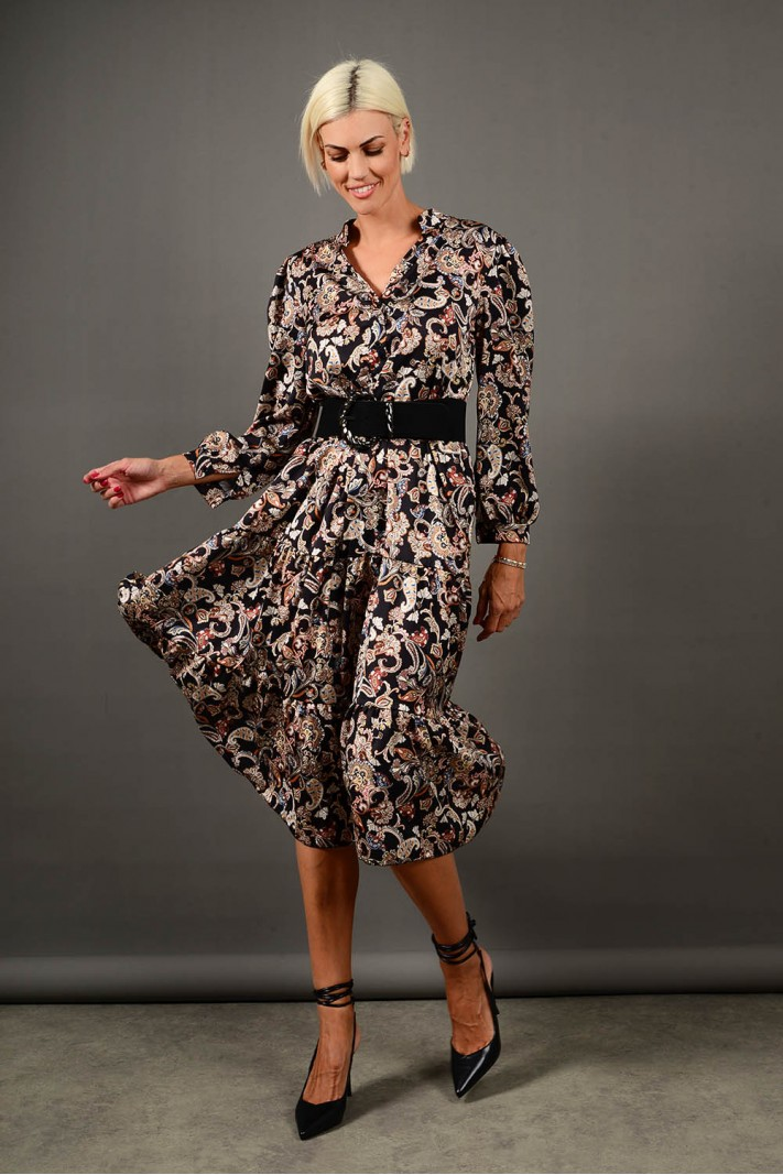 Σεμιζιέ/Φόρεμα μίντι εμπριμέ με ζώνη μαύρο Limited Edition