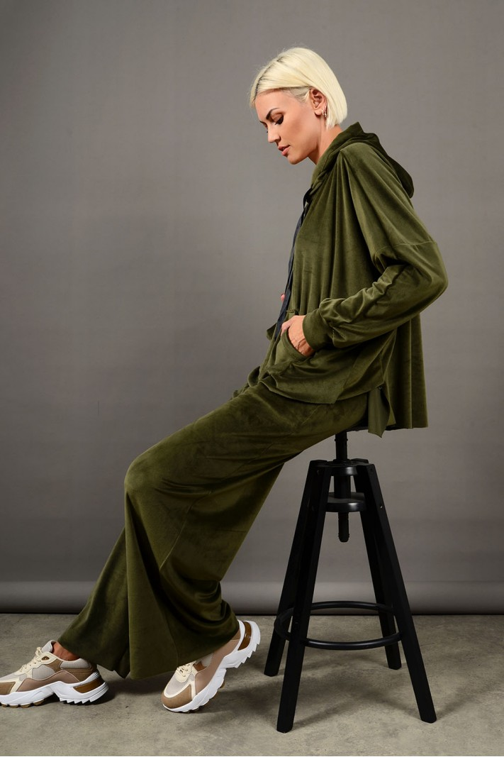 Oversized σετ φόρμα βελουτέ μπλούζα και παντελόνι λαδί