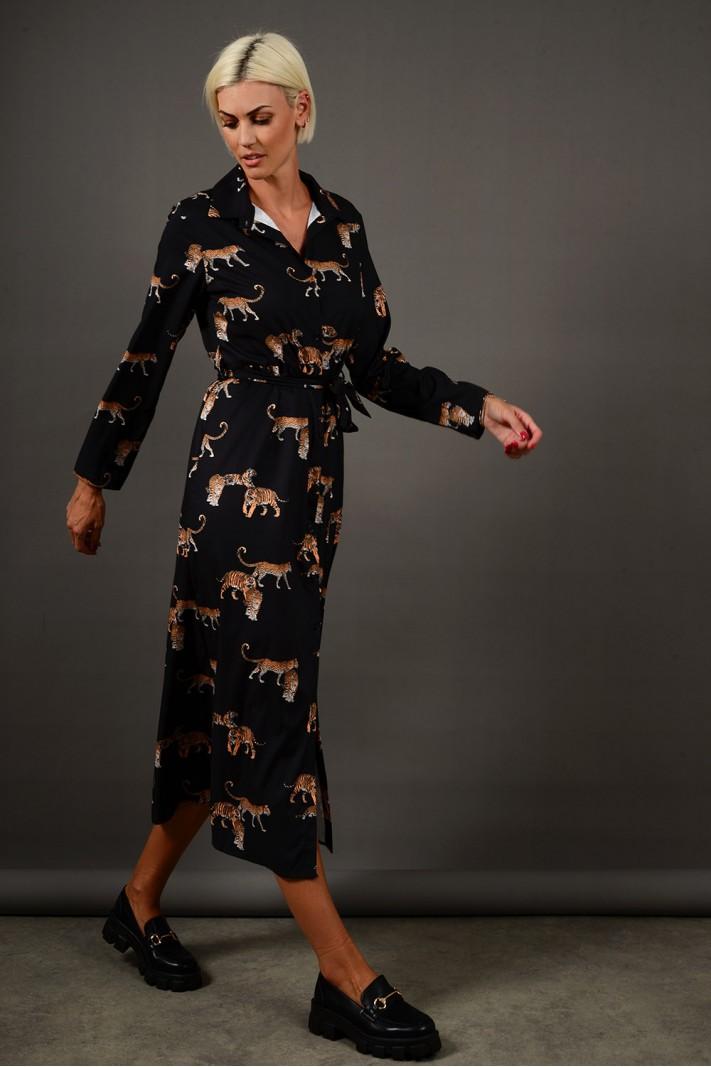 Σεμιζιέ/Φόρεμα μίντι με σχέδιο και ζώνη μαύρο Limited Edition
