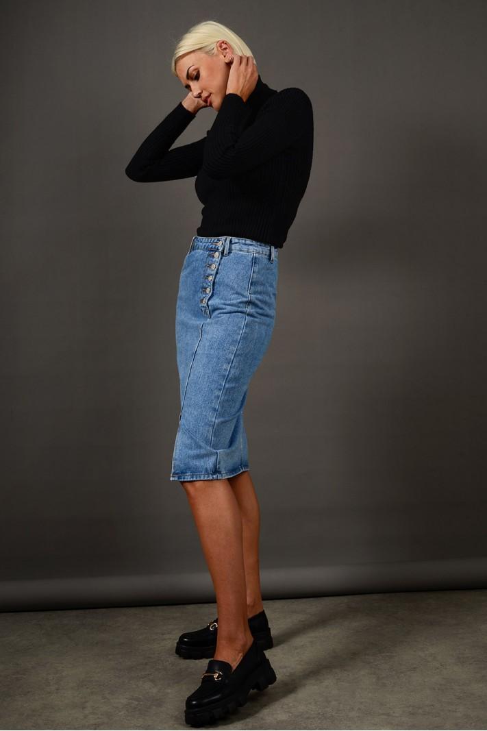 Φούστα μίντι τζιν ψηλόμεση με κουμπιά Limited Edition