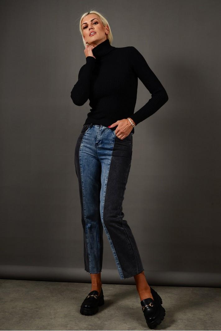 Παντελόνι τζιν cropped ψηλόμεσο με διχρωμία Limited Edition