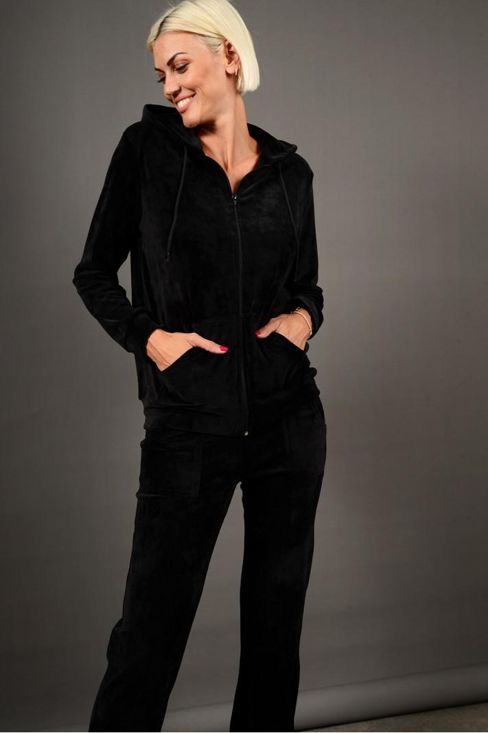 Σετ φόρμα βελουτέ ζακέτα με κουκούλα και παντελόνι με τσέπες μαύρο